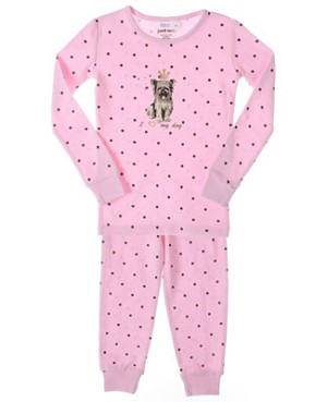 Petit Lem Pink Dot Puppy 2pc L/S Jammies