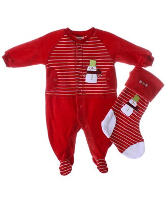 Petit Lem Red Velour Holiday Stripe Footy With Stocking