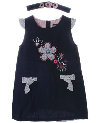 Petit Lem Navy Floral Flutter Sleeve Dress w/ Headband