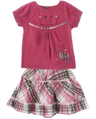 Petit Lem Pink S/S Shirt & Pink Plaid Tiered Skirt Set