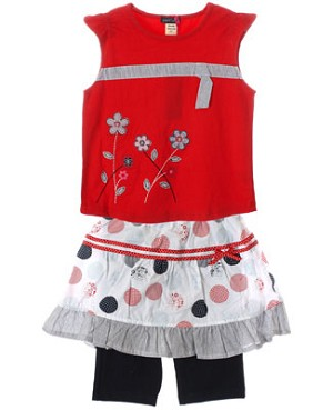 Petit Lem Red Flutter Sleeve Tank & White/Navy Skirted Legging Set