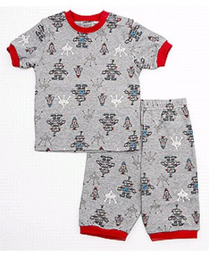 Petit Lem Grey Robots S/S Tee & Short Sleepwear Set