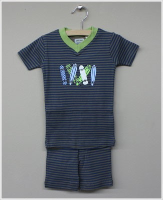 Petit Lem Blue/Grey Striped Skateboard Top And Shorts