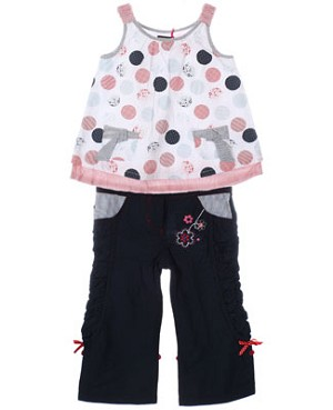Petit Lem White/Multi Dot Swing Top & Navy Pant Set