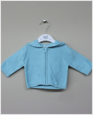 Petit Lem Aqua L/S Knit Sweater With Hood