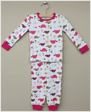 Petit Lem White L/S Multi Turtle Shirt & Pant Sleepwear Set