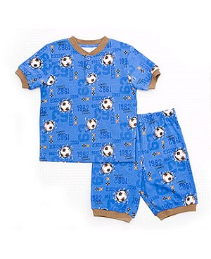 Petit Lem Blue *Soccer World Champs* Pajama Short Set
