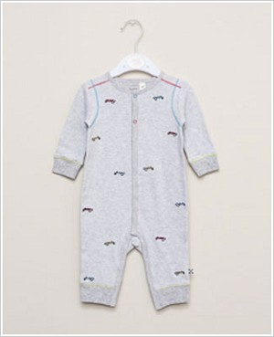 Petit Lem Grey Striped Race Car Romper
