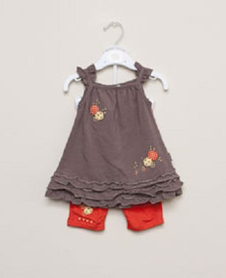 Petit Lem 2pc Brown Flutter Sun Top and Orange Legging Set