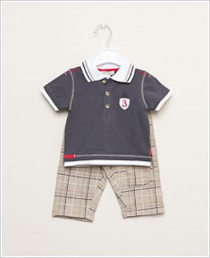 Petit Lem 2pc Prep Shool Charcoal Shirt and Knit Plaid Pant Set