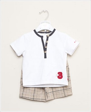 Petit Lem 2pc White Shirt and Knit Plaid Short Set