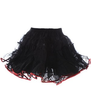 BLACK/RED Organdy Pettiskirt