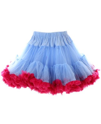 TEA TIME Light Blue/Raspberry Tiered Pettiskirt