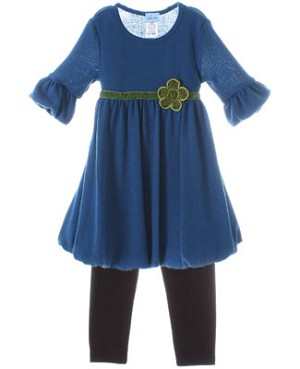 Plum Pudding Blue Knit Bubble Dress & Brown Legging Set