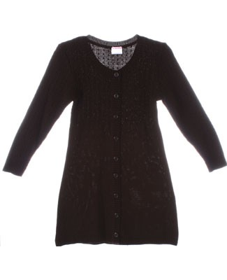 Plum Pudding Brown Button Front Sweater Dress