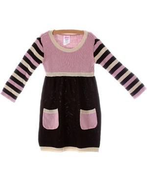 Plum Pudding L/S Brown/Pink Blocked Sweater Dress w/ Pockets