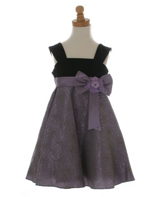10y II: Plum Pudding Black/Lavender Wide Straps Dress