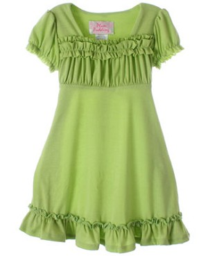 Plum Pudding Green Knit S/S Ruffle Dress