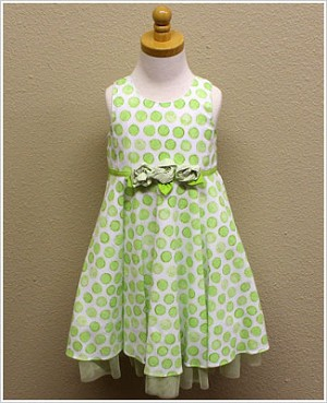 Plum Pudding Green Circle Dot Dress