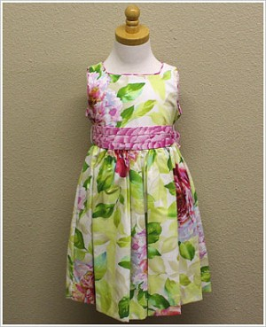 Plum Pudding Peony Dress with Pink Flower Sash