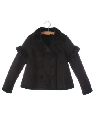 Poesia *Sample* Black Fur Lined Sued Jacket