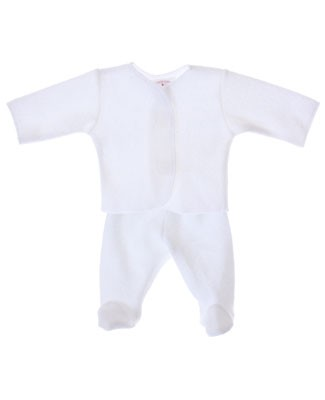 Preemie-Yums White L/S Top With Footed Pants