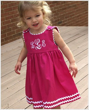 Z: Princess Linens Hot Pink with White Garden Princess Pique Dress