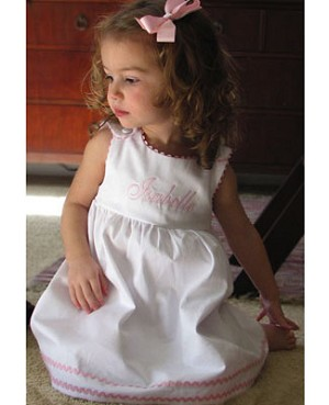 Z: Princess Linens White with Light Pink Garden Princess Pique Dress