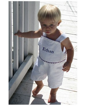 Z: Princess Linens The Hamptons White with Navy Pique Romper
