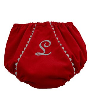 Z: Princess Linens Red with White Bon Bon Courduroy Fancy Pants