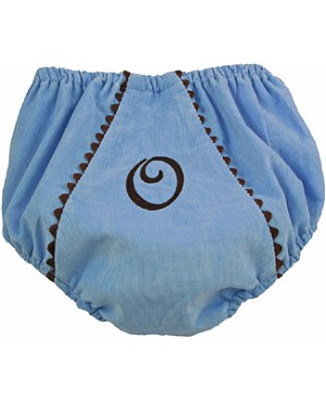 Z: Princess Linens Baby Blue with Brown Bon Bon Courduroy Fancy Pants