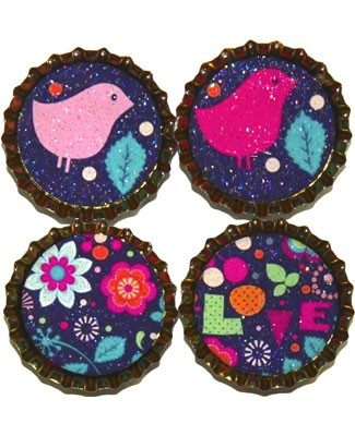 Purple Mountain New Bottle Cap Magnets - Funky Fun
