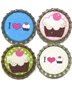 Purple Mountain New Bottle Cap Magnets - Cupcakes