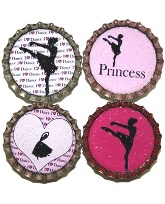 Purple Mountain New Bottle Cap Magnets - Ballerinas