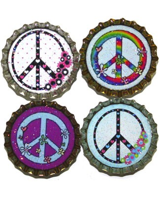 Purple Mountain New Bottle Cap Magnets - Floral Peace Signs