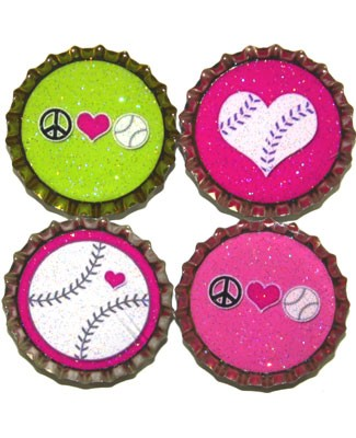 Purple Mountain New Bottle Cap Magnets - Softball