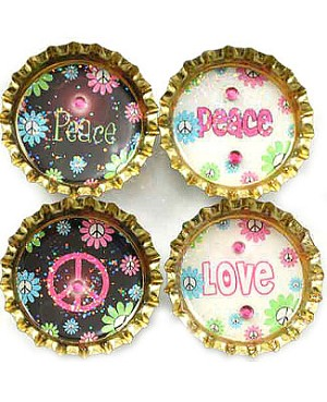 Purple Mountain Bottle Cap Magnet - Peace Pop 2