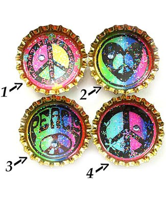 Purple Mountain Bottle Cap Magnet - Peace Baby 1