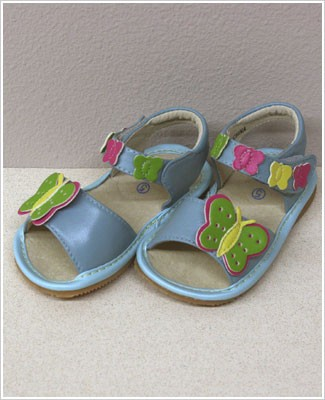 II: Rainbow Steps BLUE Leather Butterfly Sandals *SQUEAKS*