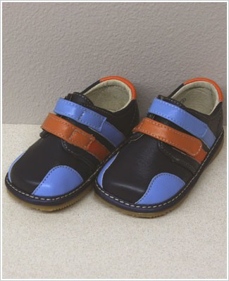 II: Rainbow Steps NAVY Boys Double Velcro Leather Shoes *SQUEAKS*
