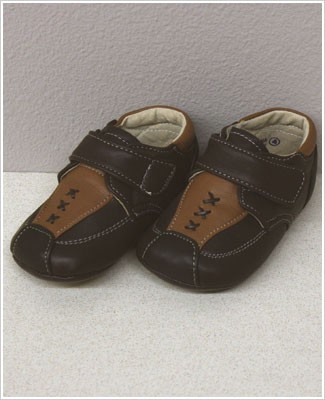 II: Rainbow Steps BROWN Baby Boys Leather Velcro Shoes w/ Stitching