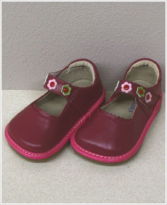II: Rainbow Steps RASPBERRY Leather Shoes w/ Flowers *SQUEAKS*