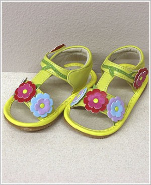II: Rainbow Steps YELLOW T-Strap Tri-Flower Sandals *SQUEAKS*