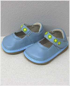 II: Rainbow Steps LIGHT BLUE Leather Shoes w/ Flowers *SQUEAKS*