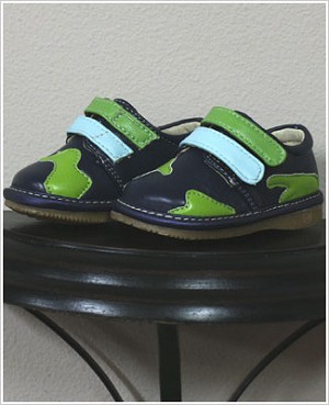 II: Rainbow Steps DARK BLUE Boys Velcro Leather Shoe with Green Spots