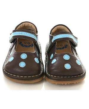 II: Rainbow Steps Brown Leather Velcro Shoes w/ Blue Dots *SQUEAKS*