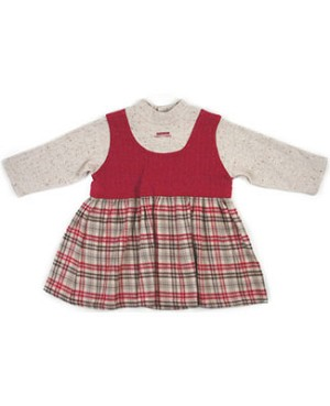 : Klim Baby's L/S Plaid Burgundy Dress