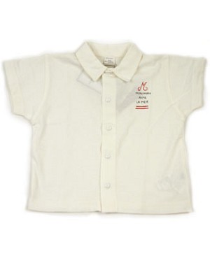 6m: Miniman Cream Snap Up S/S Shirt W/ Collar