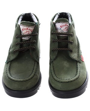 R: Kickers Green Distressed Leather Boots