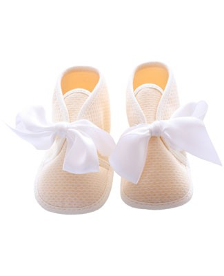 R: Petit Bateau Cream Booties With White Satin Ribbon